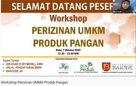 KOTA PELANGI Bekerjasama dengan PT PLN (Persero) Pusat Sertifikasi dan Lembaga Pengabdian Masyarakat Universitas Bakrie Beri Workshop Perizinan UMKM Produk Pangan